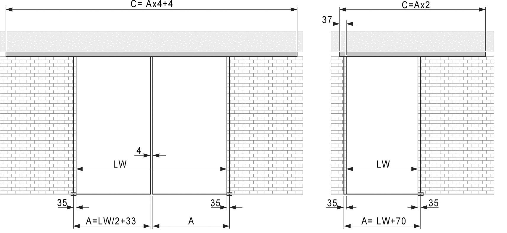 Komplett-Set VITRIS Portavant 60, Deckenmontage