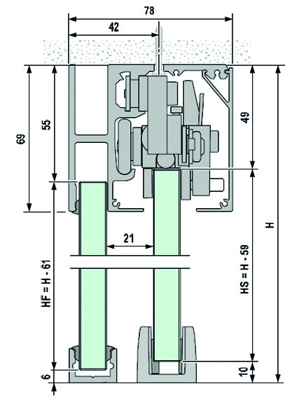 Komplett-Set VITRIS Portavant 120G, Deckenmontage mit Festverglasung