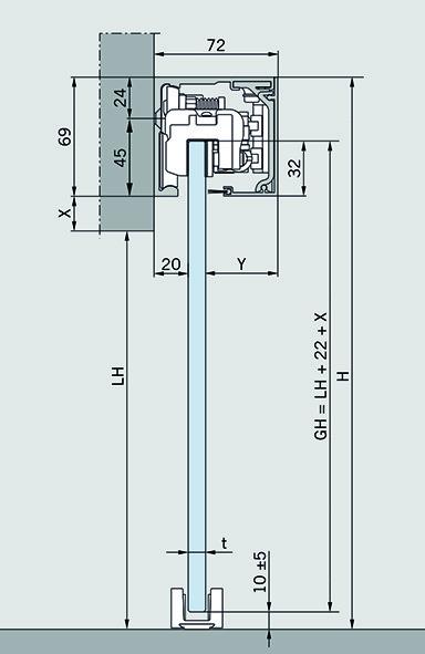 Komplett-Set Schiebetürbeschläge DORMA MUTO 150, Wandmontage