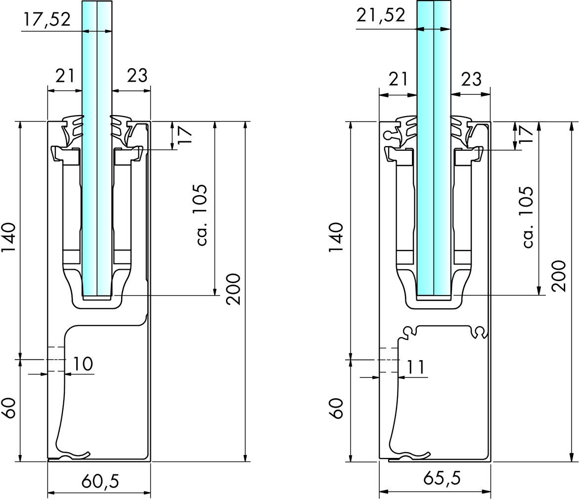 Glasgeländersystem-Profilset cp-1402 PAULI+SOHN