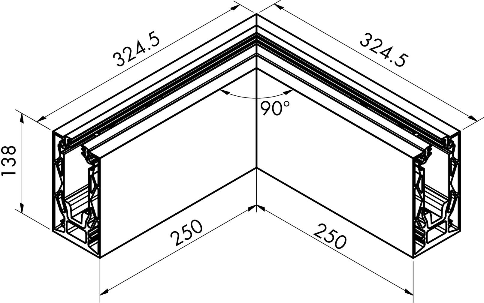 Innenecken/Aussenecken-Set zu Glasgeländerprofil cp-1404 PAULI+SOHN