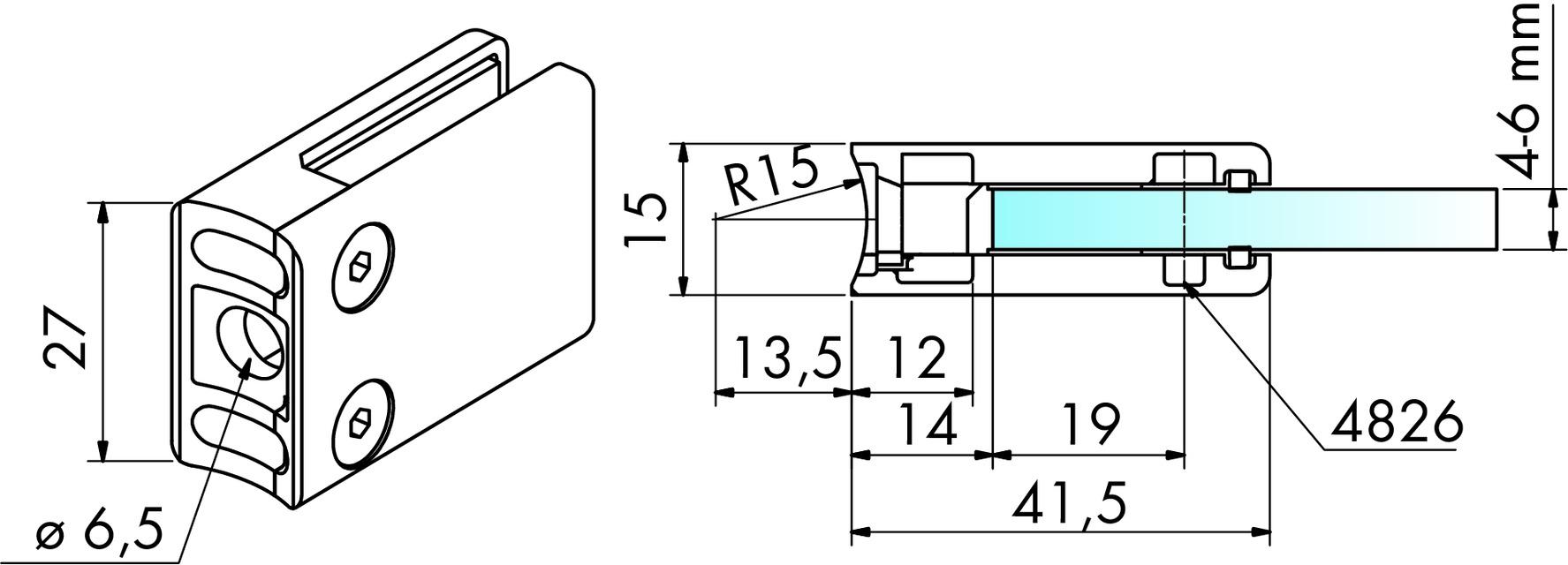 Glasklemmen Zink PAULI+SOHN 41.5/27 mm