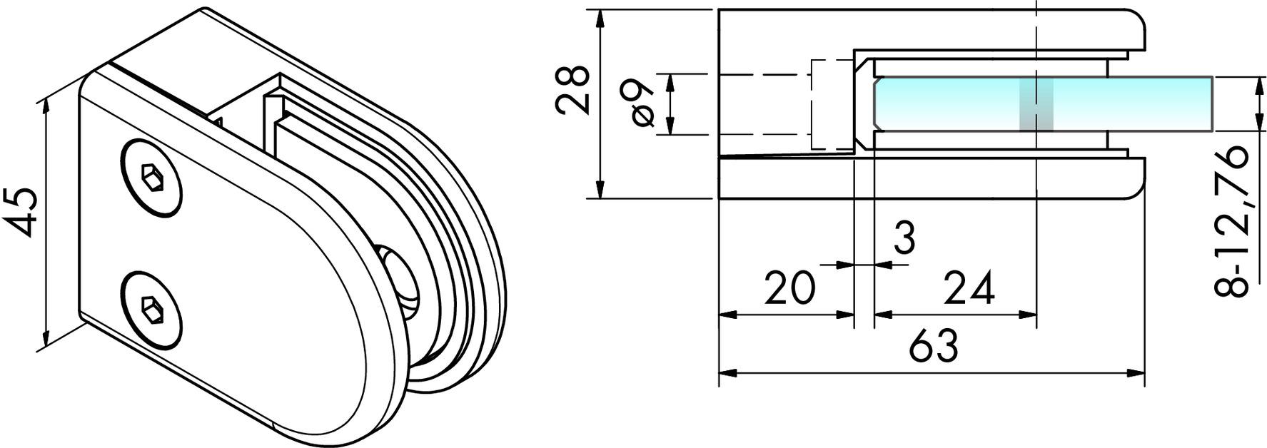 Glasklemmen Zink PAULI+SOHN 63/45 mm