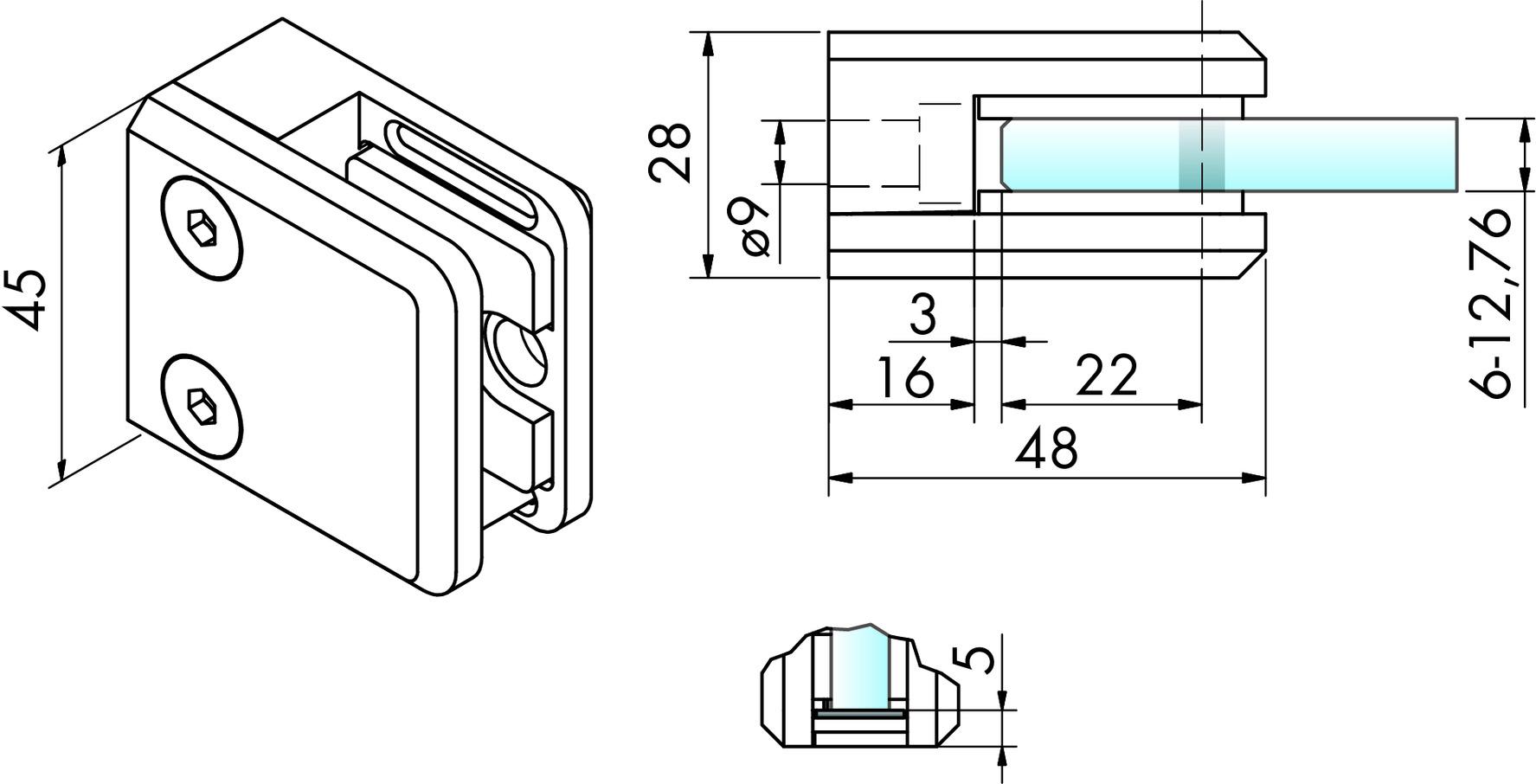 Glasklemmen V4A PAULI+SOHN 48/45 mm