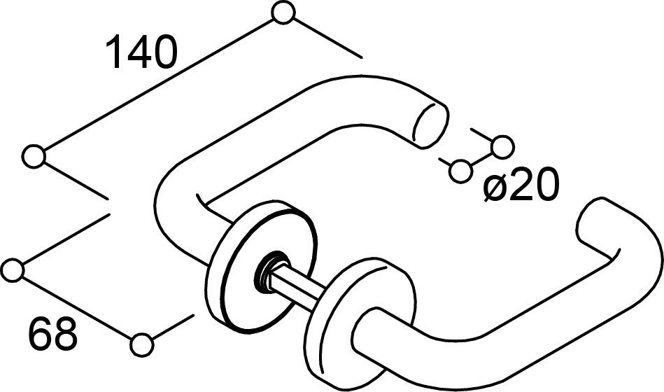 Drückergarnituren U-Form für Feuerschutztüren NORMBAU
