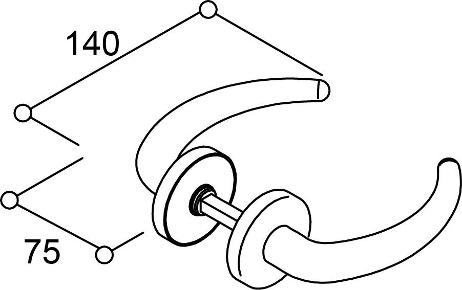 Drückerganituren C-Form für Feuerschutztüren NORMBAU