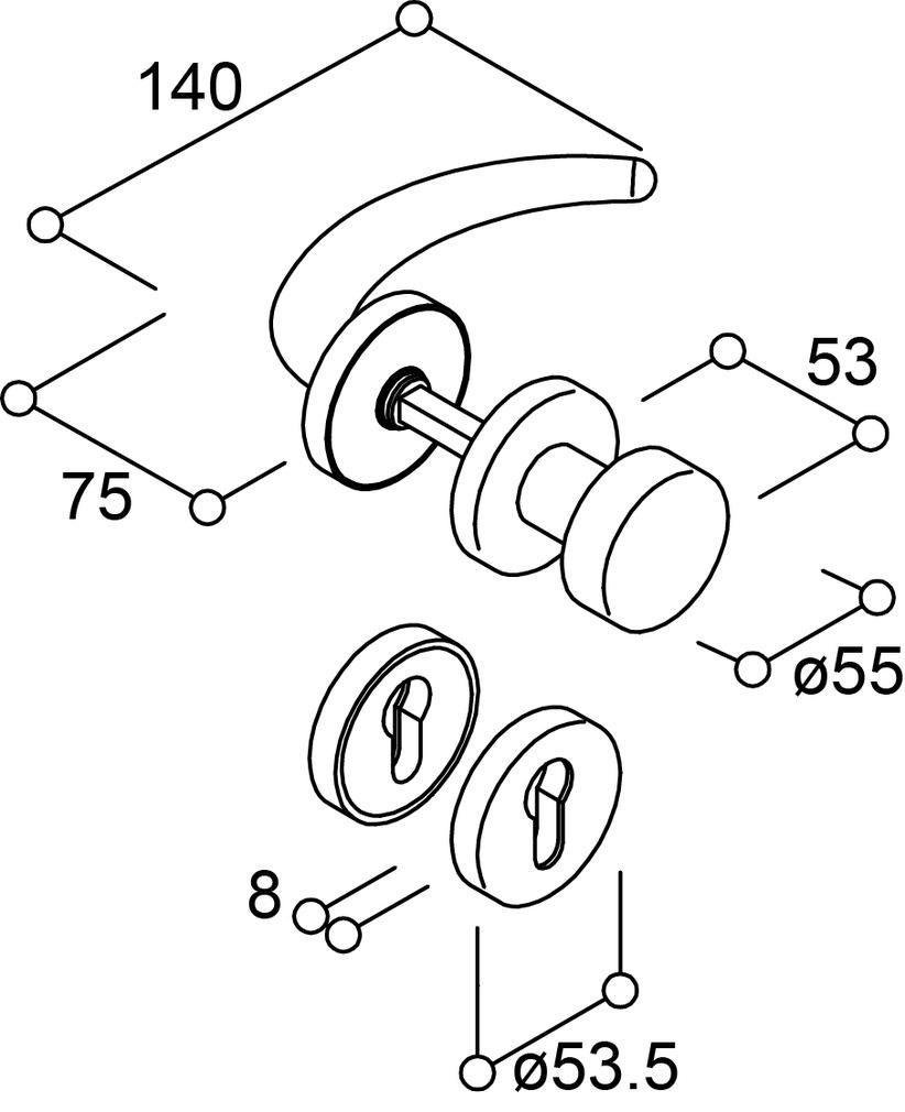 Wechselgarnituren C-Form mit feststehendem Knopf für Feuerschutztüren NORMBAU