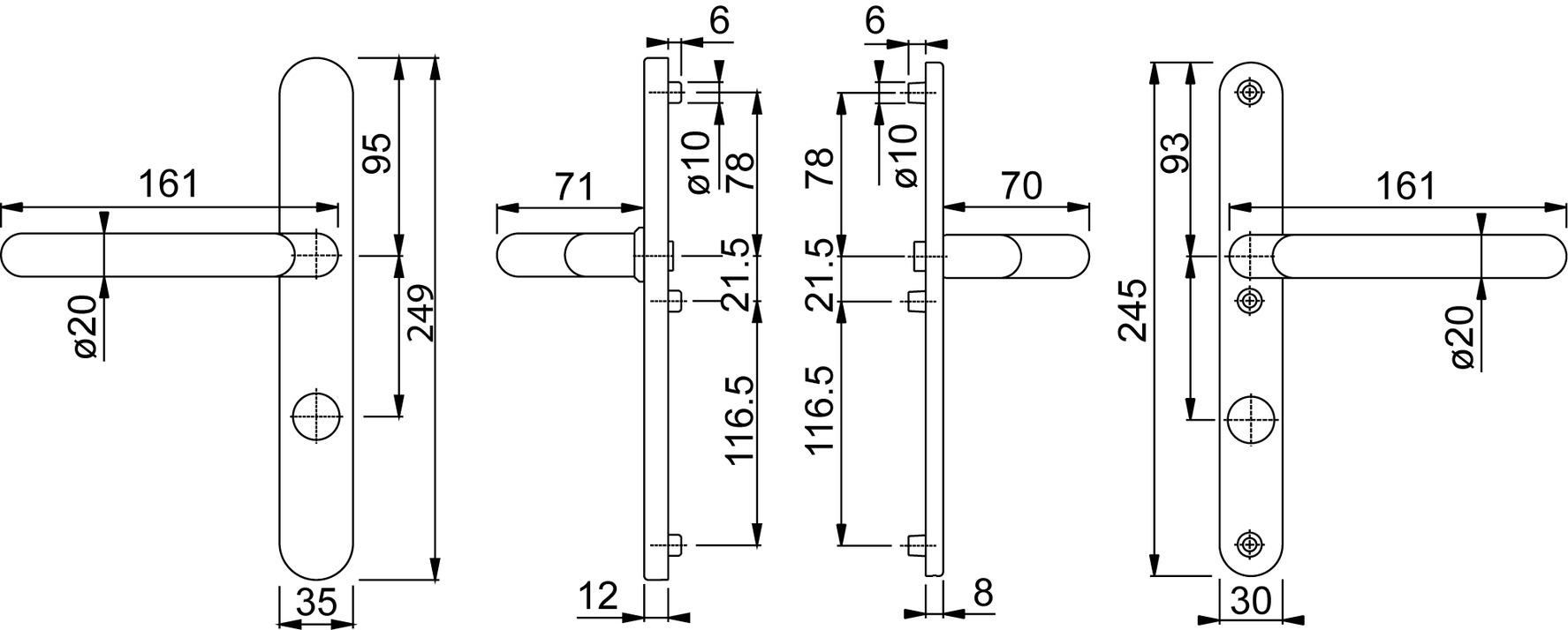 Schutz-Türgriffgarnituren HOPPE E1401GF2/3358/3346