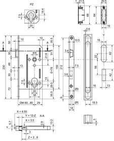 Magnet-Einsteckschloss GLUTZ 24110 Panikfunktion E