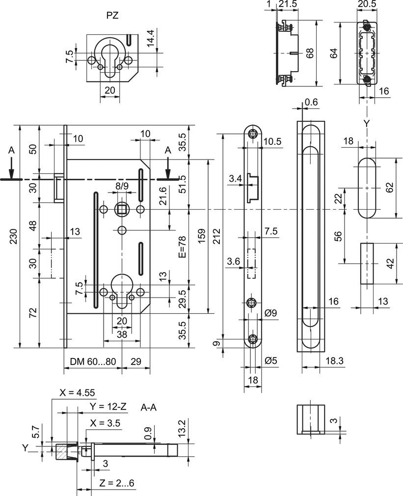 Magnet-Einsteckschloss GLUTZ 24100