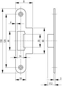 Lappenschliessbleche zu Panikschloss SECURY-Automatic 2110 / 2116