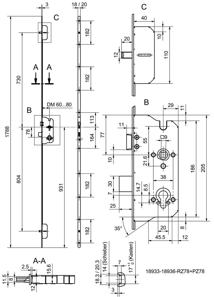 Mehrfachverriegelungen GLUTZ MINT 18938 Combi (1-tourig)