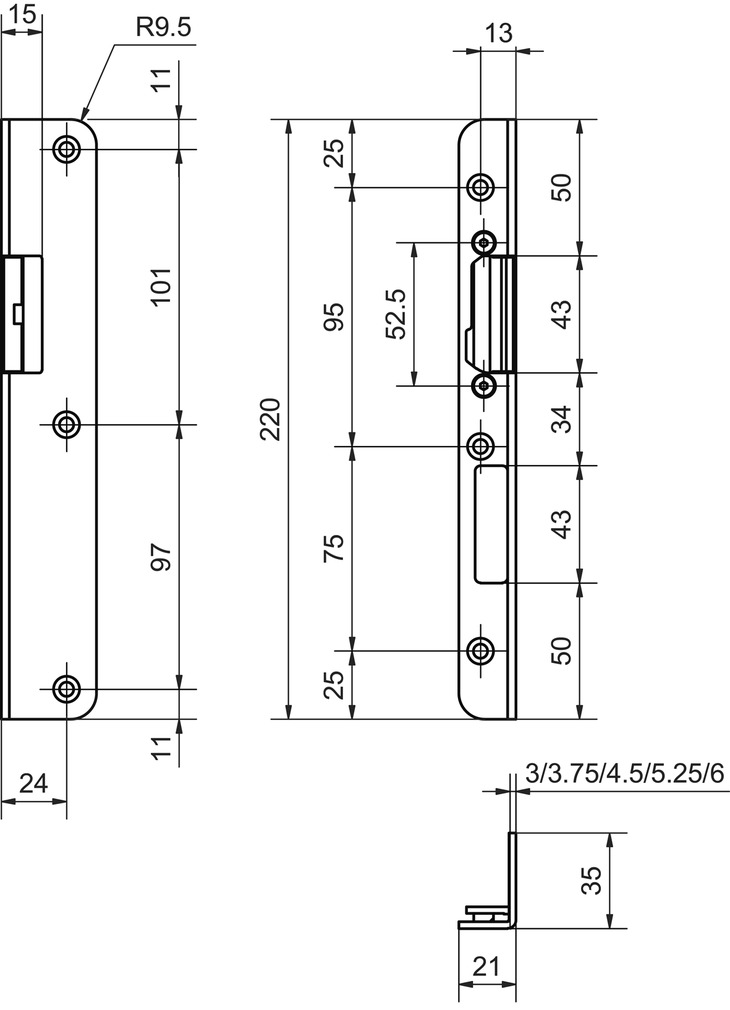 Winkelschliessbleche GLUTZ V-1123