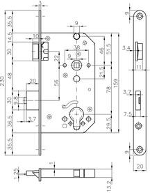 Panik-Sicherheits-Einsteckschlösser MSL CASA-Alpha 1714 PE ZF