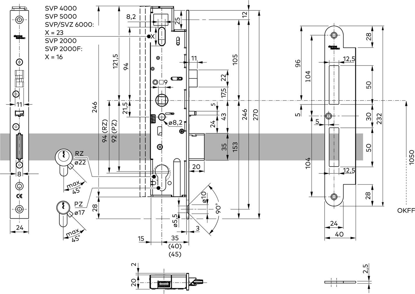 Selbstverriegelnde ANTIPANIK Motorschlösser dormakaba SVP 2000 DCW