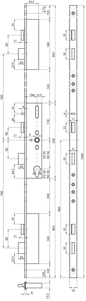 Panik-Mehrpunkt-Verriegelungen MSL FlipLock 24544PE-SV-TF
