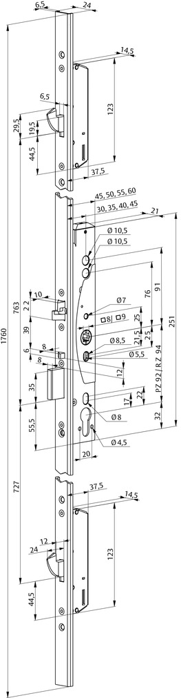 Selbstverriegelnde Antipanik-Mehrpunktverschlüsse eff-eff 329X Mechanik