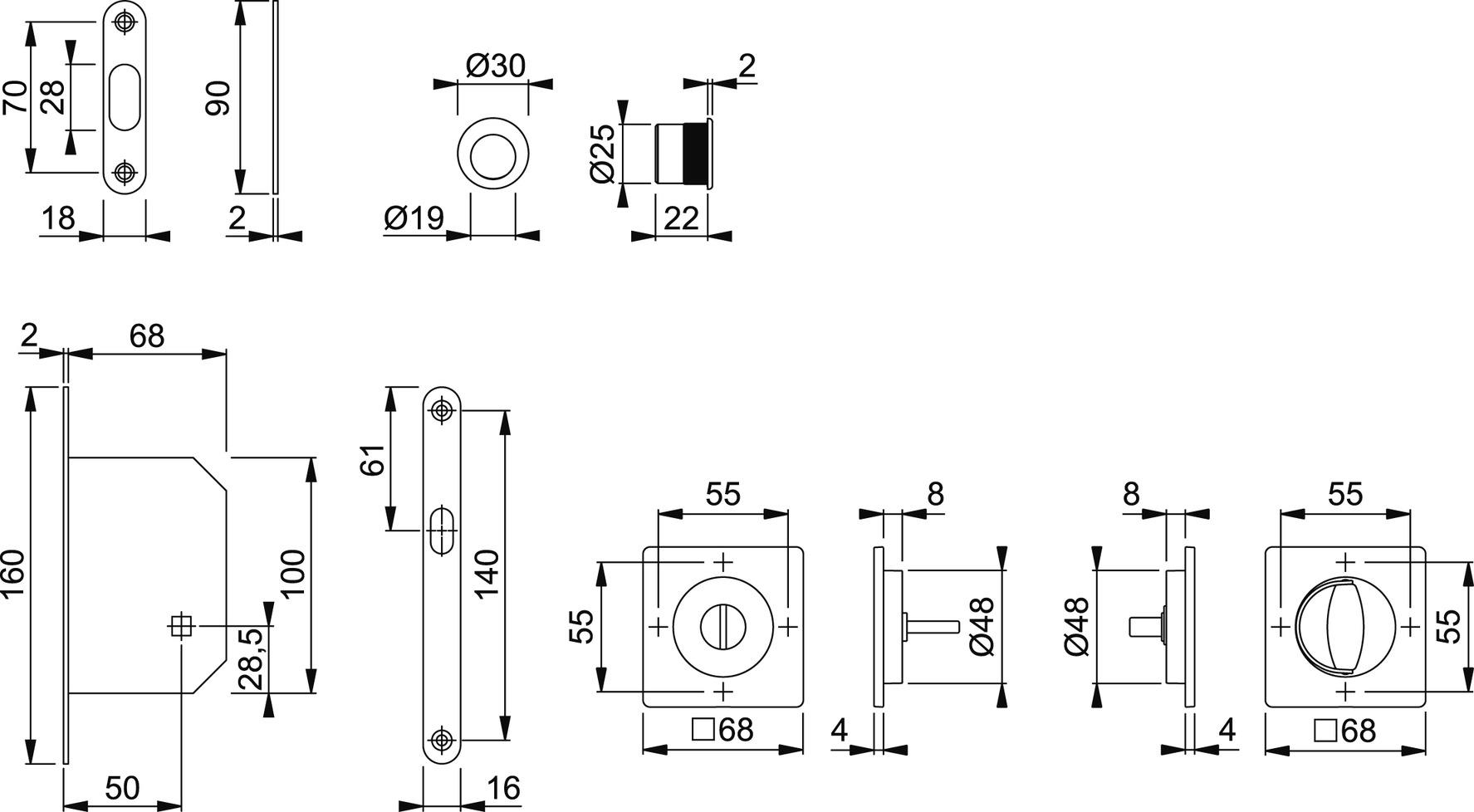 Schiebetürset HOPPE M443-Set 6