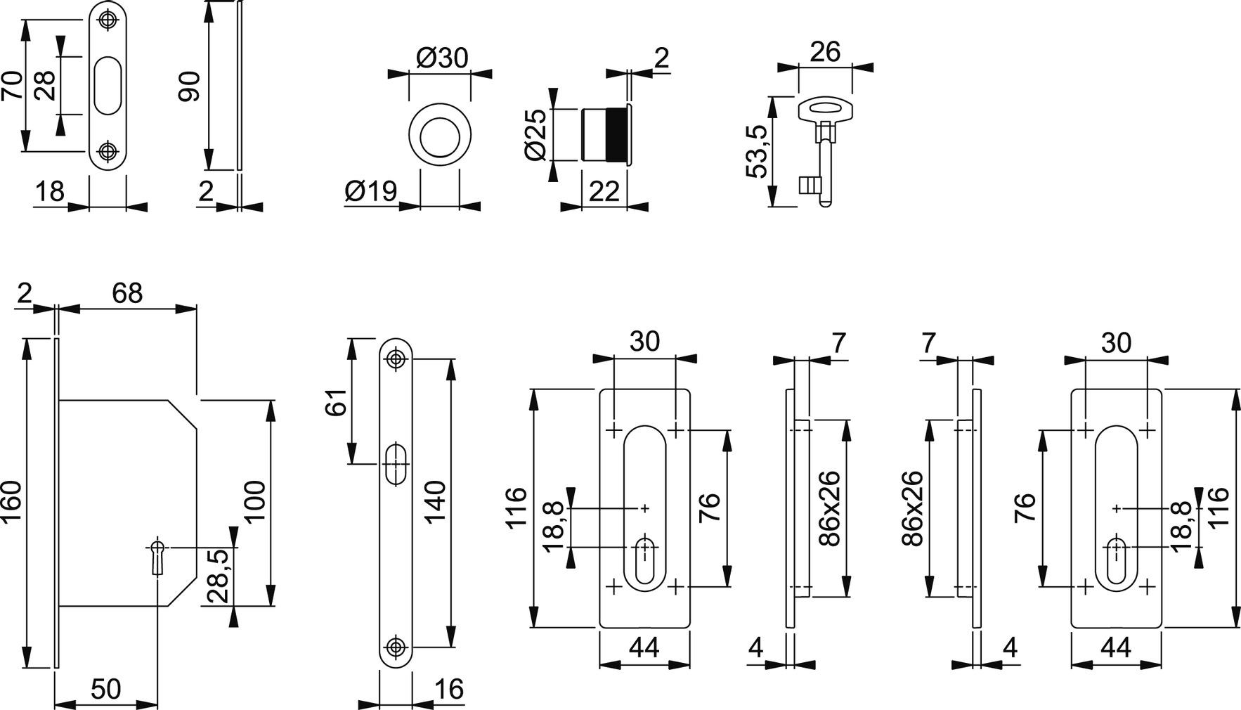 Schiebetürset HOPPE M464-Set 3