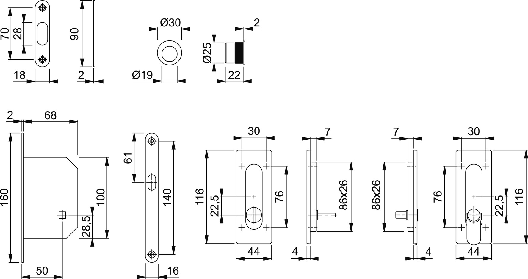 Schiebetürset HOPPE M464-Set 6
