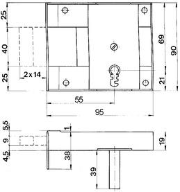 Kellertür-Riegelschlösser aufgesetzt SCHÄNIS 2301