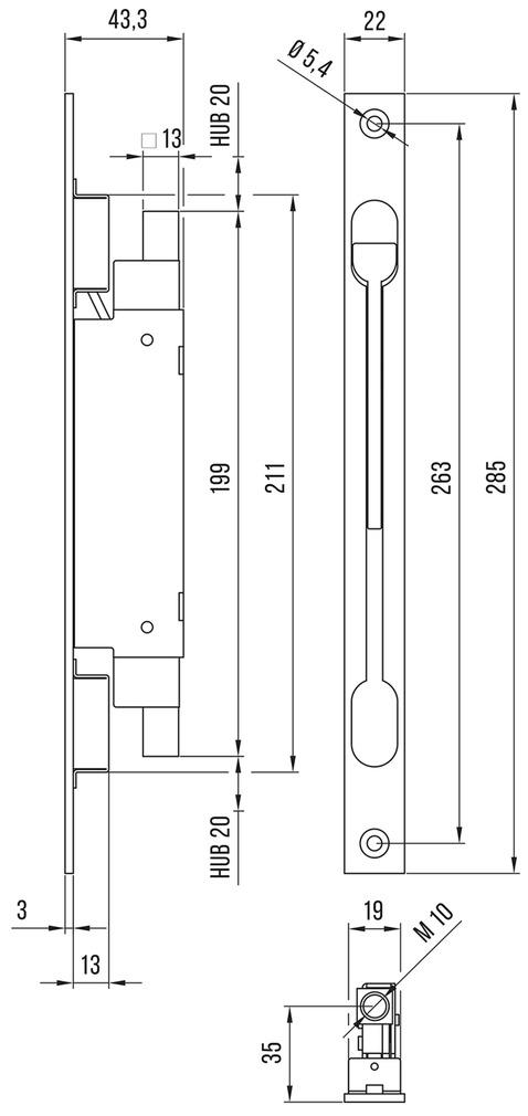 Einlass-Hebelkantenriegel DENI