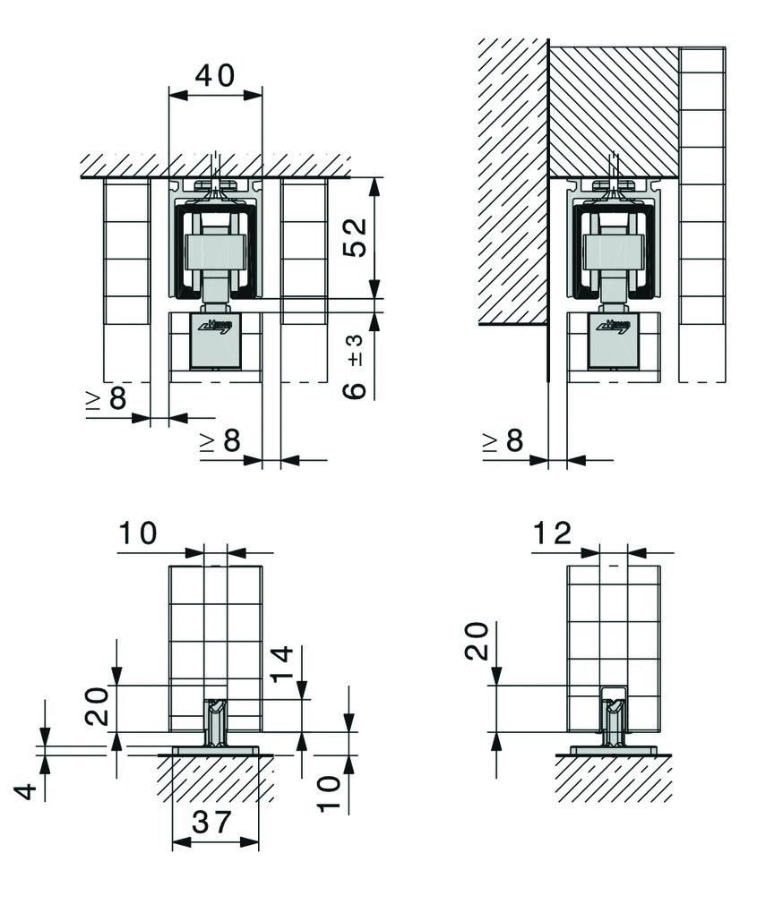 Schiebetürbeschläge HAWA-Junior 80/B-Pocket