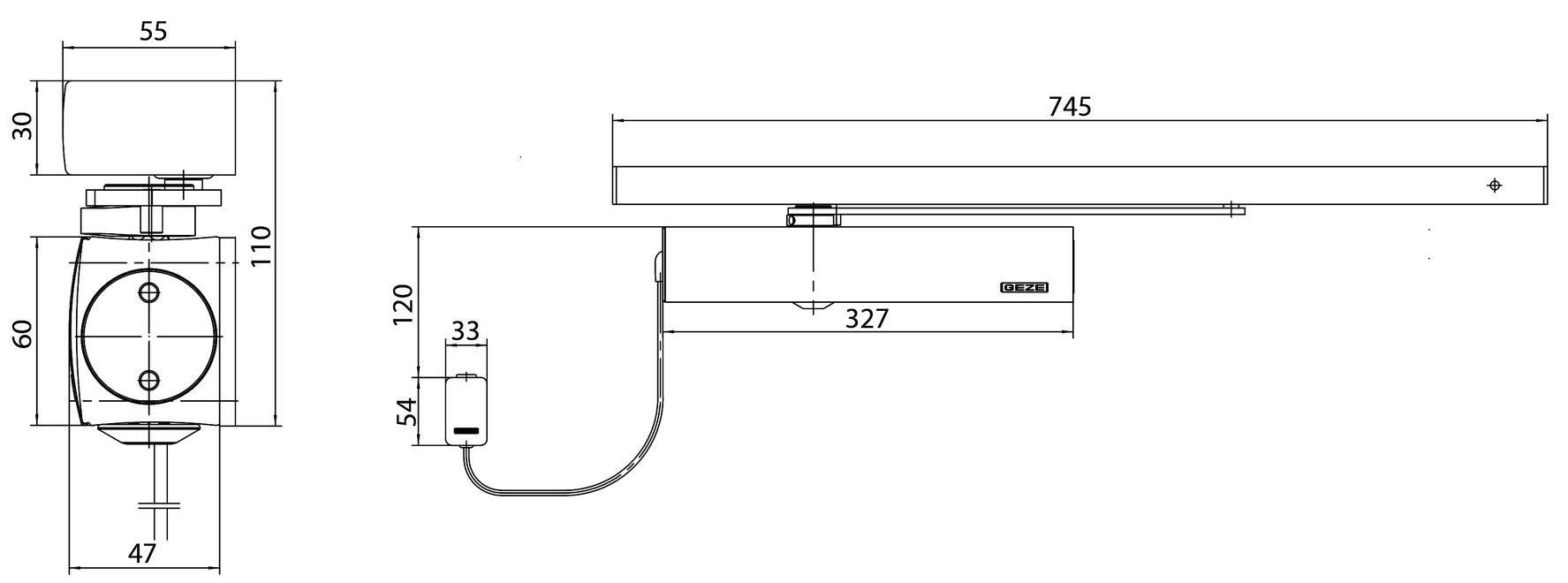 Freilauf-Türschliesser GEZE TS 5000 RFS