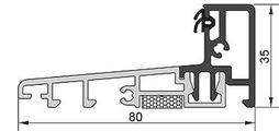System-Bodenschwelle für auswärts öffnende Haustüren aus Holz