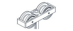 HAWA 10424 Laufwerk, 2-rollig, Kunststoff mit Aufhängeschraube M14