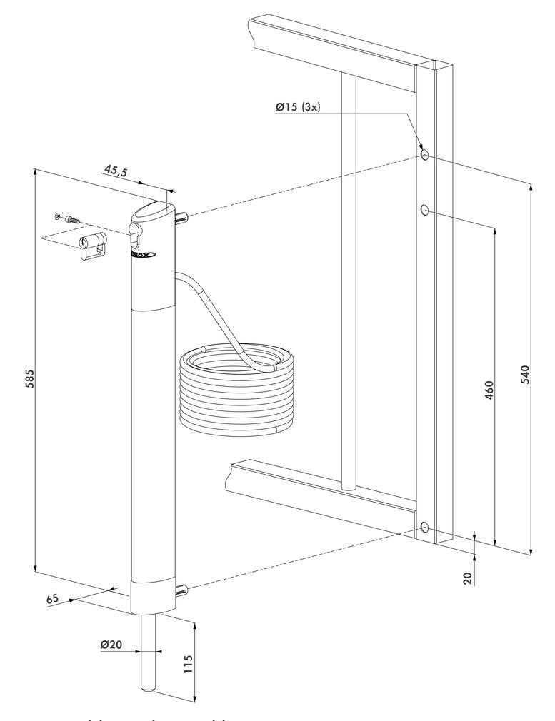 Elektrischer Bolzen-Stangenriegel LOCINOX ELECTRADROP