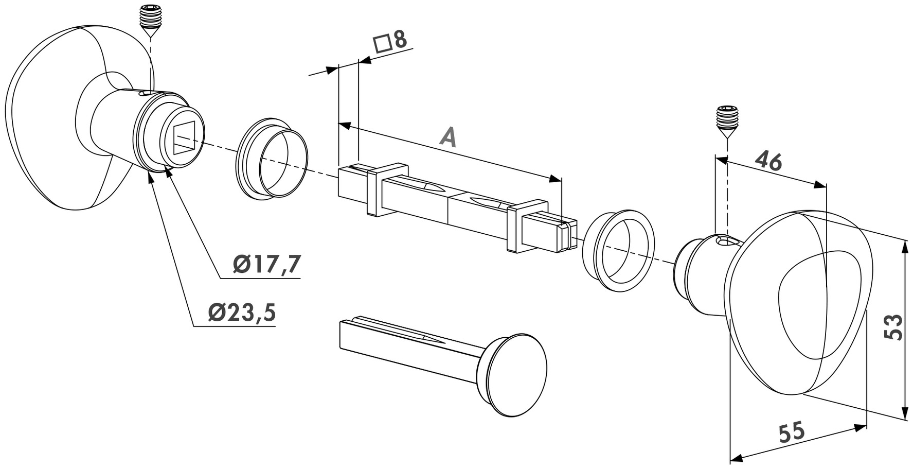Drehknopf-Drücker-Set LOCINOX 3006KR