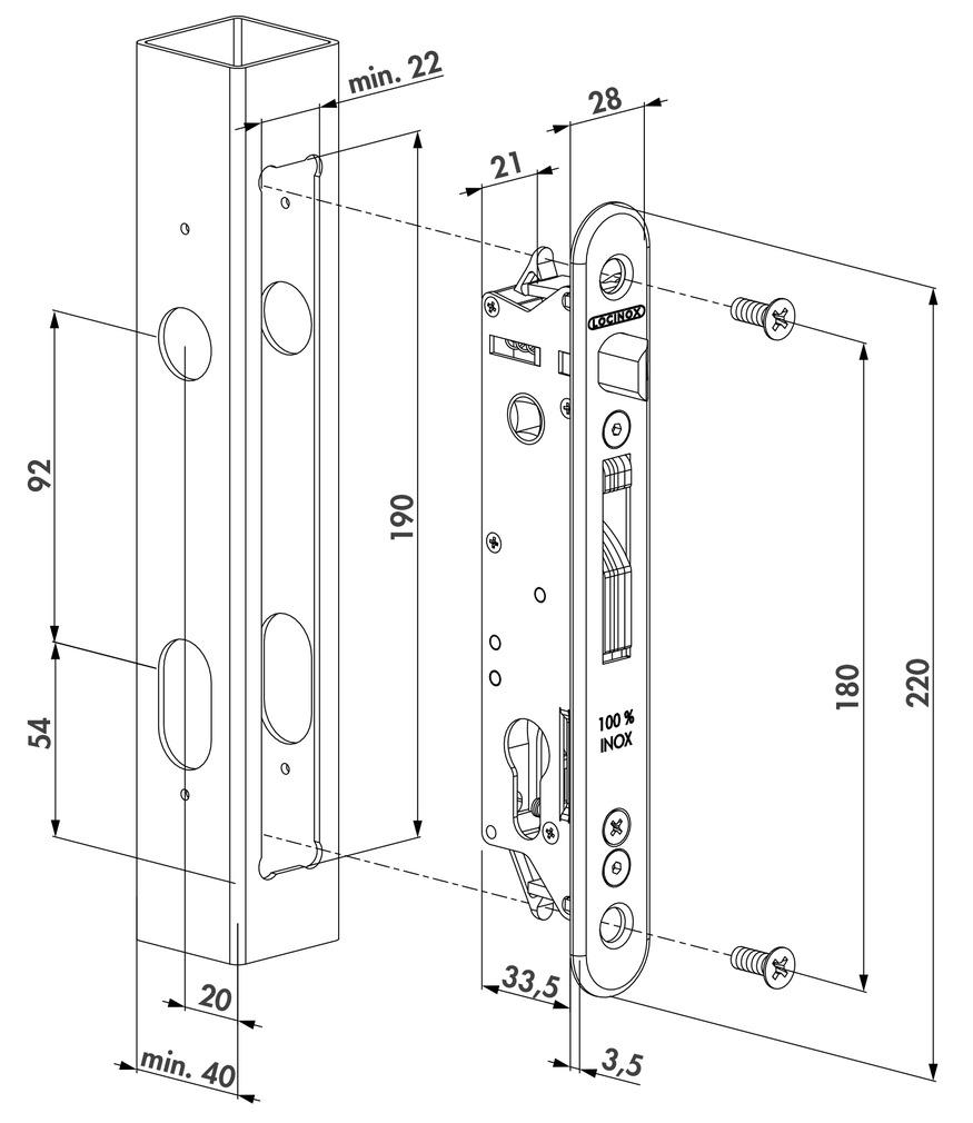 Einsteckschloss-Set LOCINOX FORTYLOCK