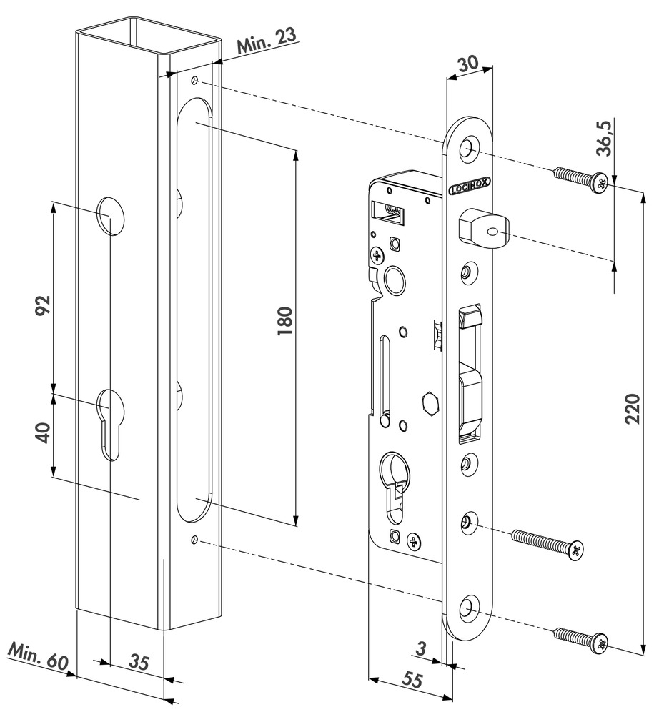 Einsteckschloss-Set LOCINOX H-METAL