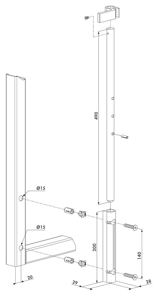 Bolzen-Stangenriegel LOCINOX VSF
