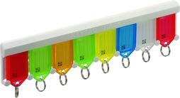 Schlüsseletiketten auf Halterleiste