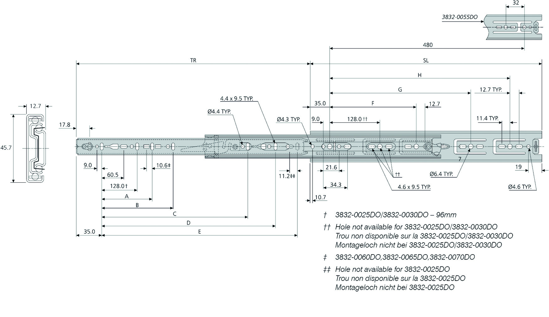 Kugel-Vollauszüge ACCURIDE 3832DO mit Rastung