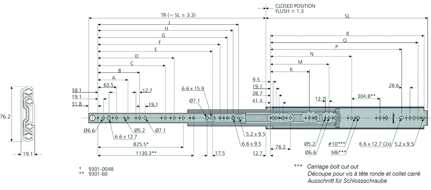 Kugel-Vollauszüge (Schwerlastschiene) ACCURIDE DZ9301-E