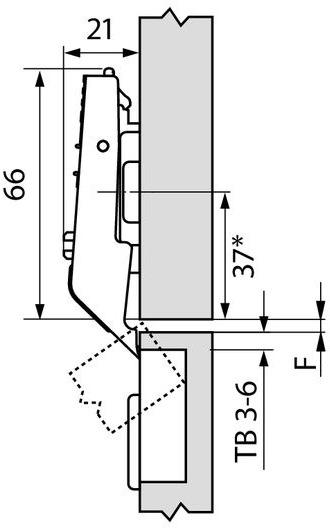 CLIP top-Zwischenscharnier BLUM für Hochfaltklappe AVENTOS HF / SERVO-DRIVE