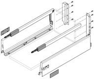 Komplett-Frontschubkasten-Set BLUM TANDEMBOX M / D mit Reling, seidenweiss