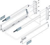 Komplett-Frontschubkasten-Set BLUM TANDEMBOX M / C mit Reling, seidenweiss