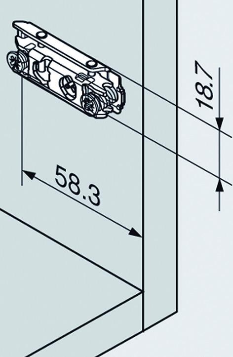 Linearmontageplatten BLUM CLIP Eckmontage