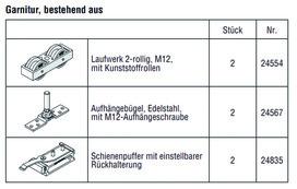 HAWA 25130 HAWA-Frontslide 140/A, Teilgarnitur für 1 Schiebeladen