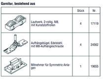 HAWA 25133 HAWA-Frontslide 60/matic-Symmetric 2, Teilgarnitur für 2 Schiebeläden