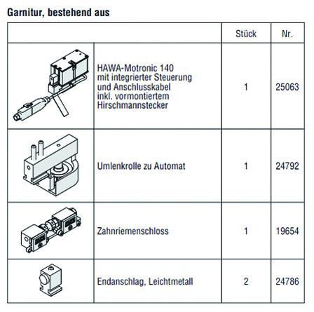 HAWA 25148 HAWA-Motronic 140 zu HAWA-Frontslide 140/matic, inkl. Steuerung, Zahnriemenschloss und Umlenkrolle