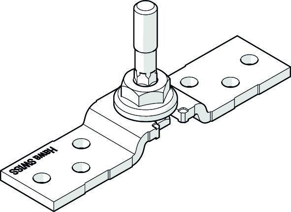 HAWA 25196 Aufhängebügel, Edelstahl, mit M8-Aufhängeschraube für niedere Laufschiene